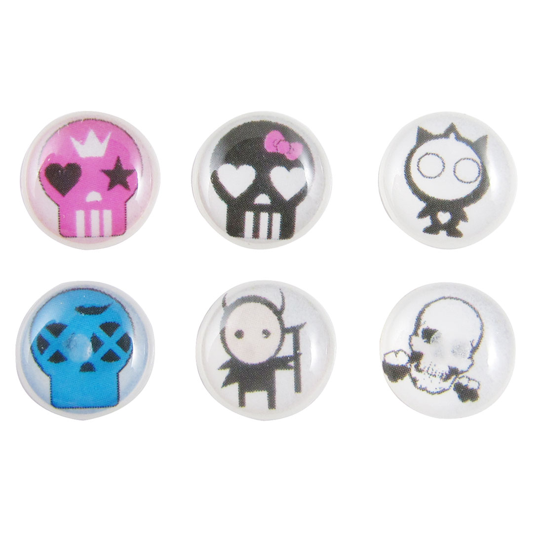 Skull Design Home Button Stickers 6 in 1 for Cell Phone