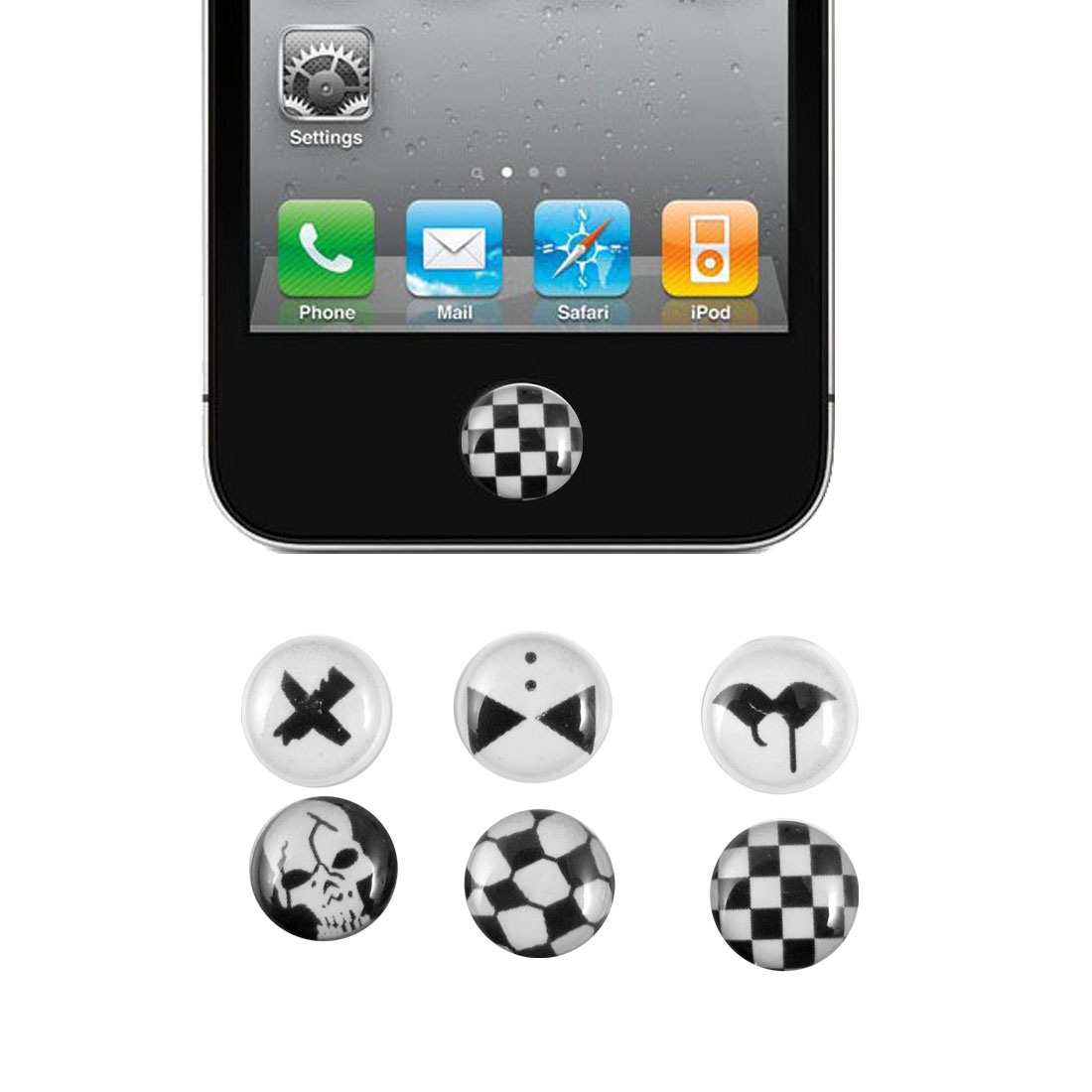Skull Check Pattern Home Button Stickers 6 in 1 for Cell Phone