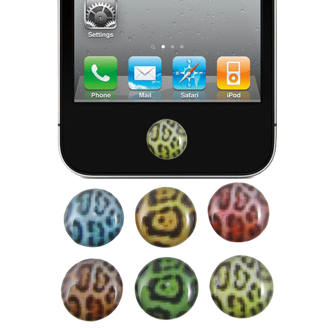 Colorful Leopard Pattern Home Button Sticker 6 Pcs for Cell Phone