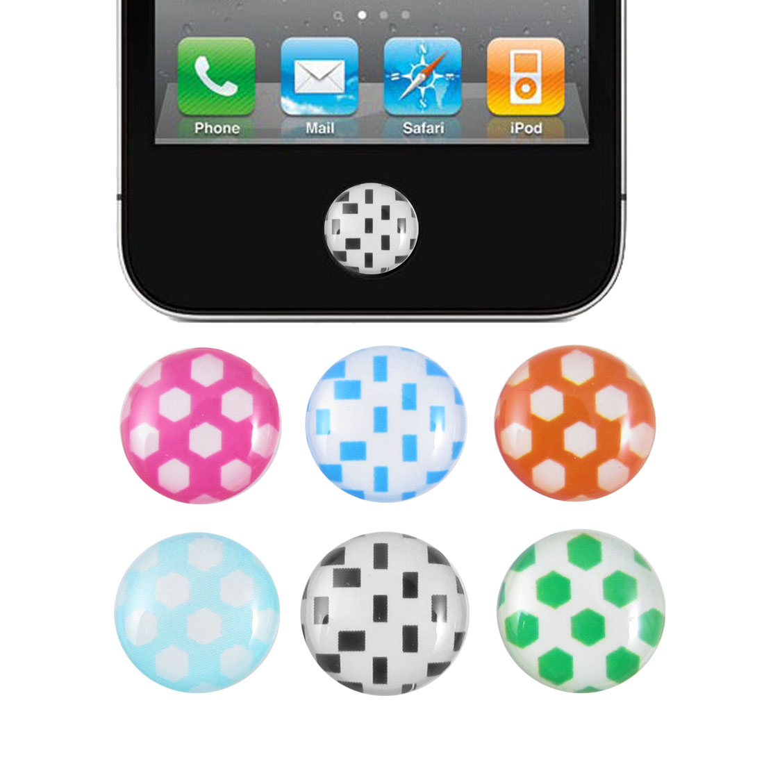 Hexagon Pattern Home Button Stickers 6 in 1 for Cell Phone