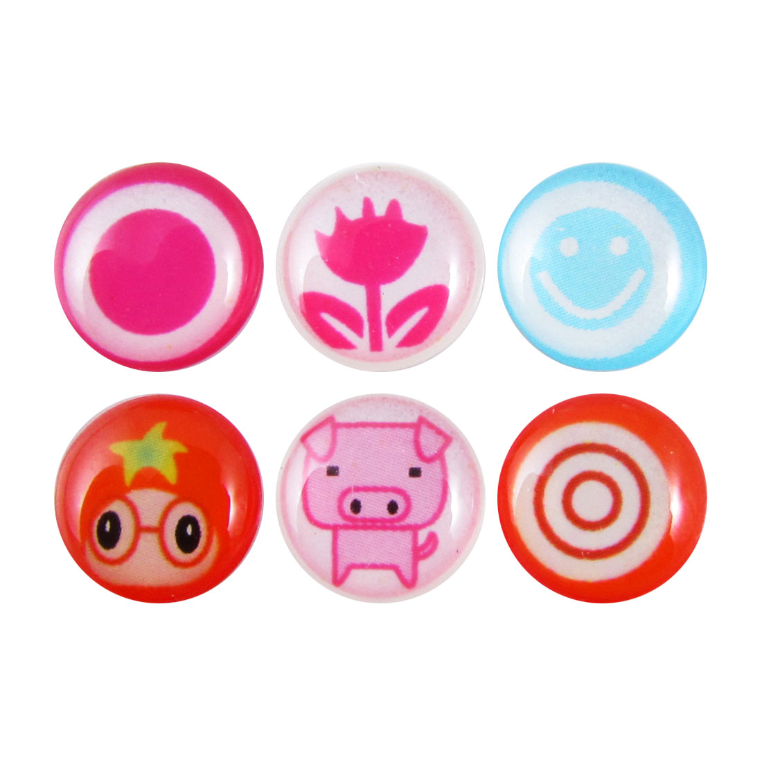 Pig Circle Flower Pattern Home Button Sticker 6 Pcs for Cell Phone