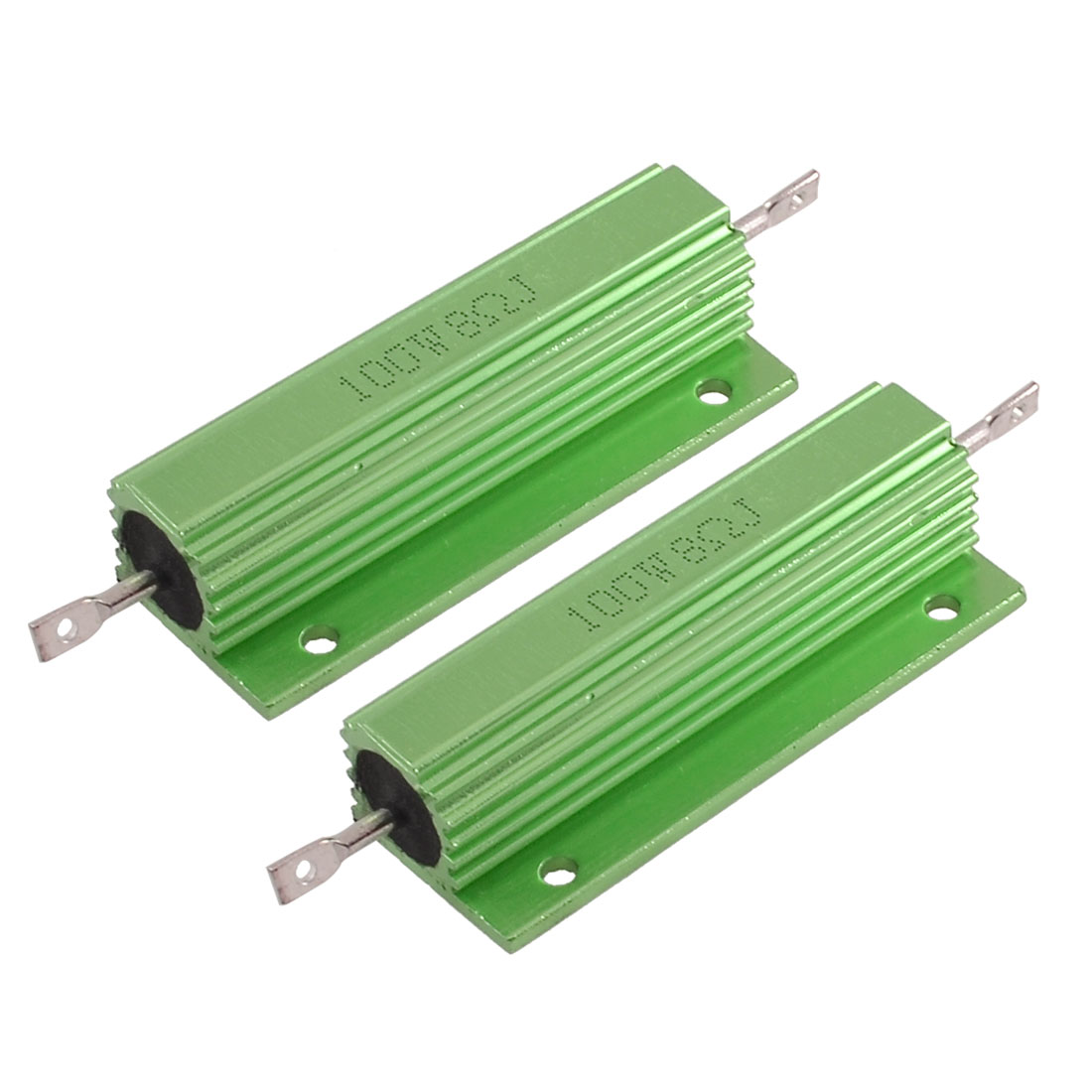 2 Pcs Green Aluminum Wire Wound Resistor 100W Powr 8 Ohm 5%