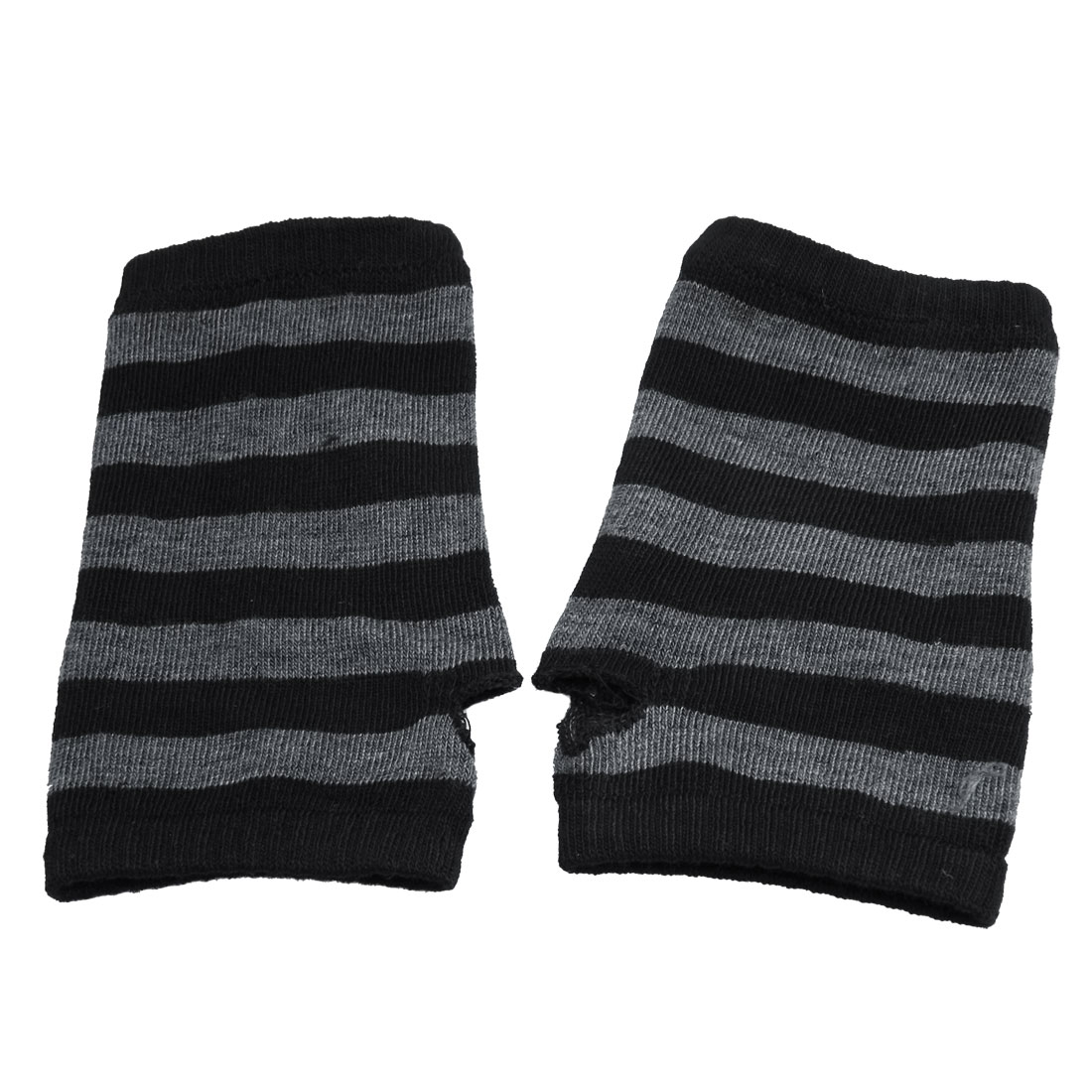 Black Gray Stripes Pattern Knitted Fingerless Winter Gloves for Ladies
