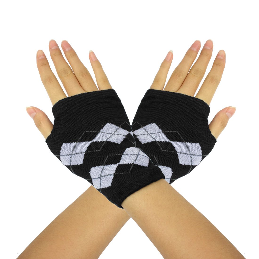 Ladies Lozenge Pattern Winter Knitted Fingerless Gloves Gray Black