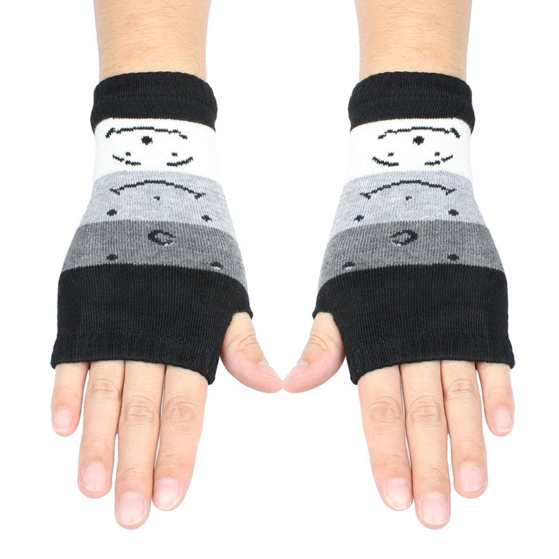 Women Cute Face Pattern Fingerless Mitten Knit Elastic Gloves Pair Black
