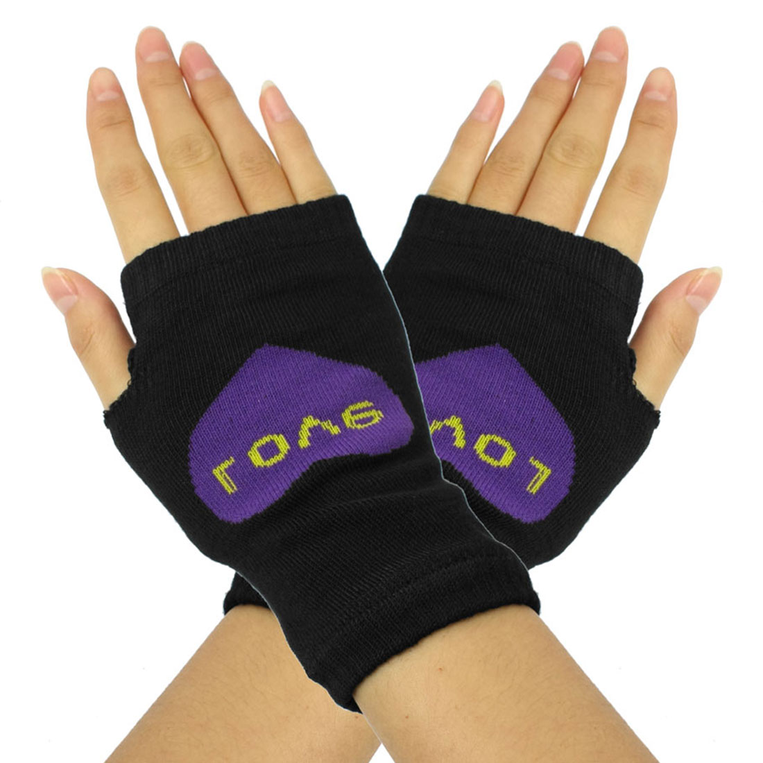 Ladies Purple Heart Print Fingerless Mitten Knit Elastic Gloves Pair Black