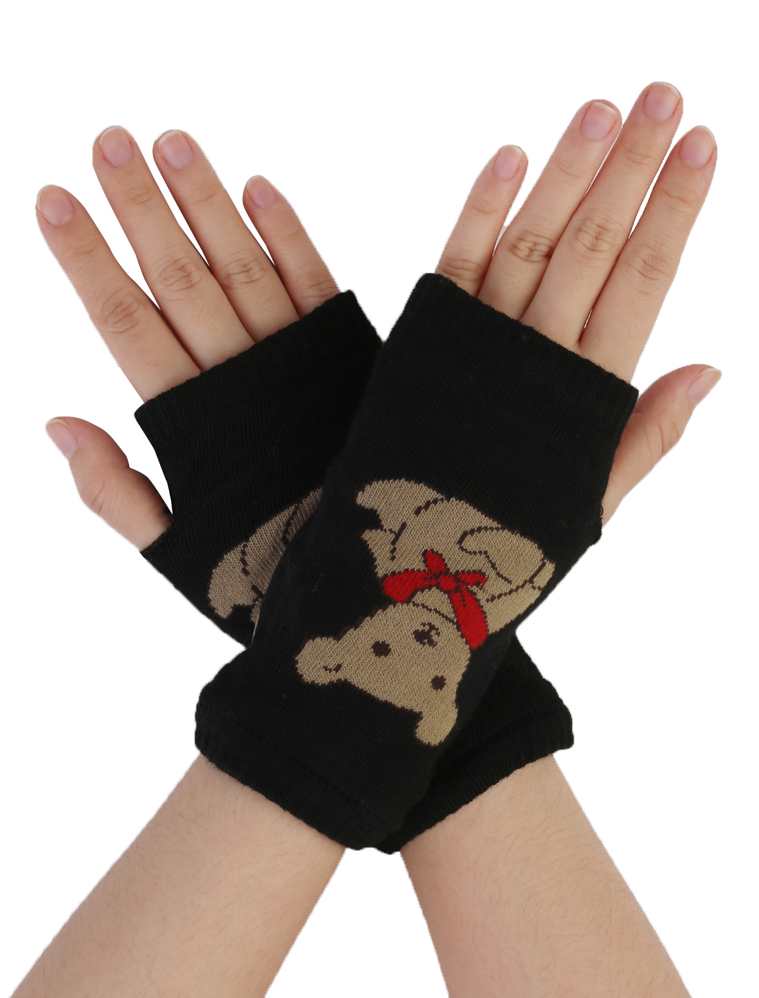 Women Beige Bear Pattern Fingerless Mitten Knit Elastic Gloves Pair Black