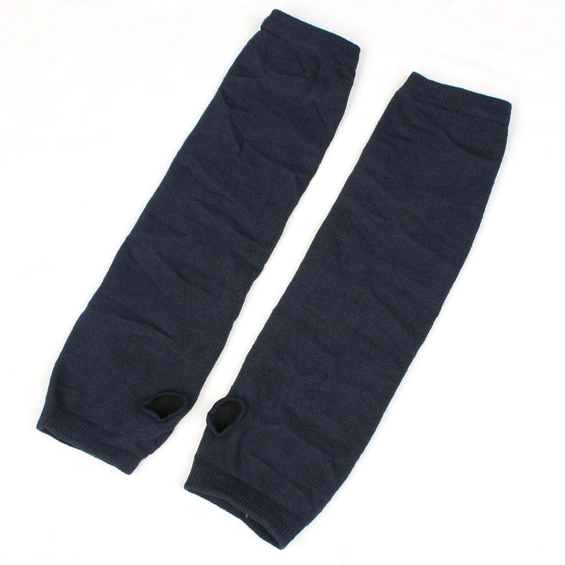 Pair Navy Blue Stretchy Fingerless Winter Arm Warmers Gloves for Ladies