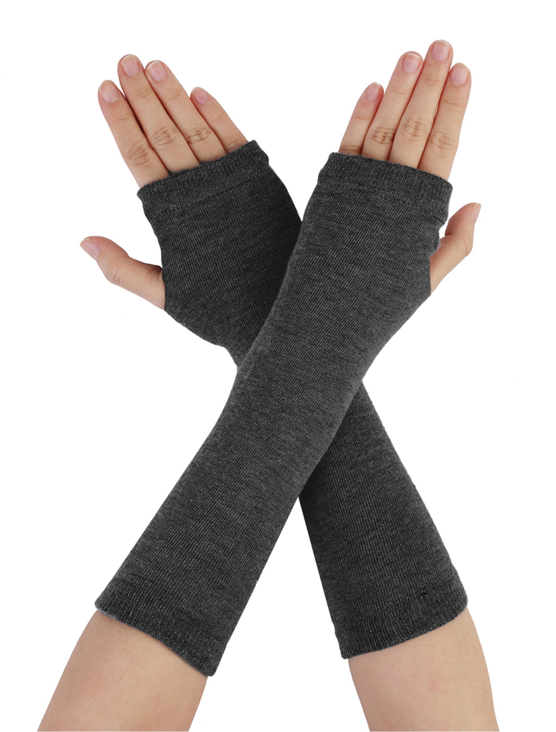Pair Solid Gray Stretchy Fingerless Winter Arm Warmers Gloves for Ladies