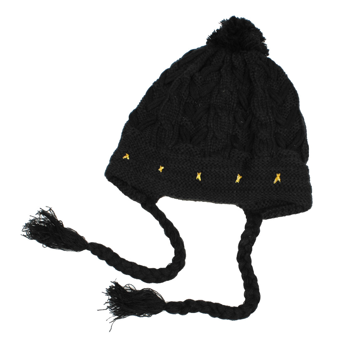 Lady Woman Gold Tone Black Pom-Pom Winter Warmer Cable-knit Beanies Hat Cap