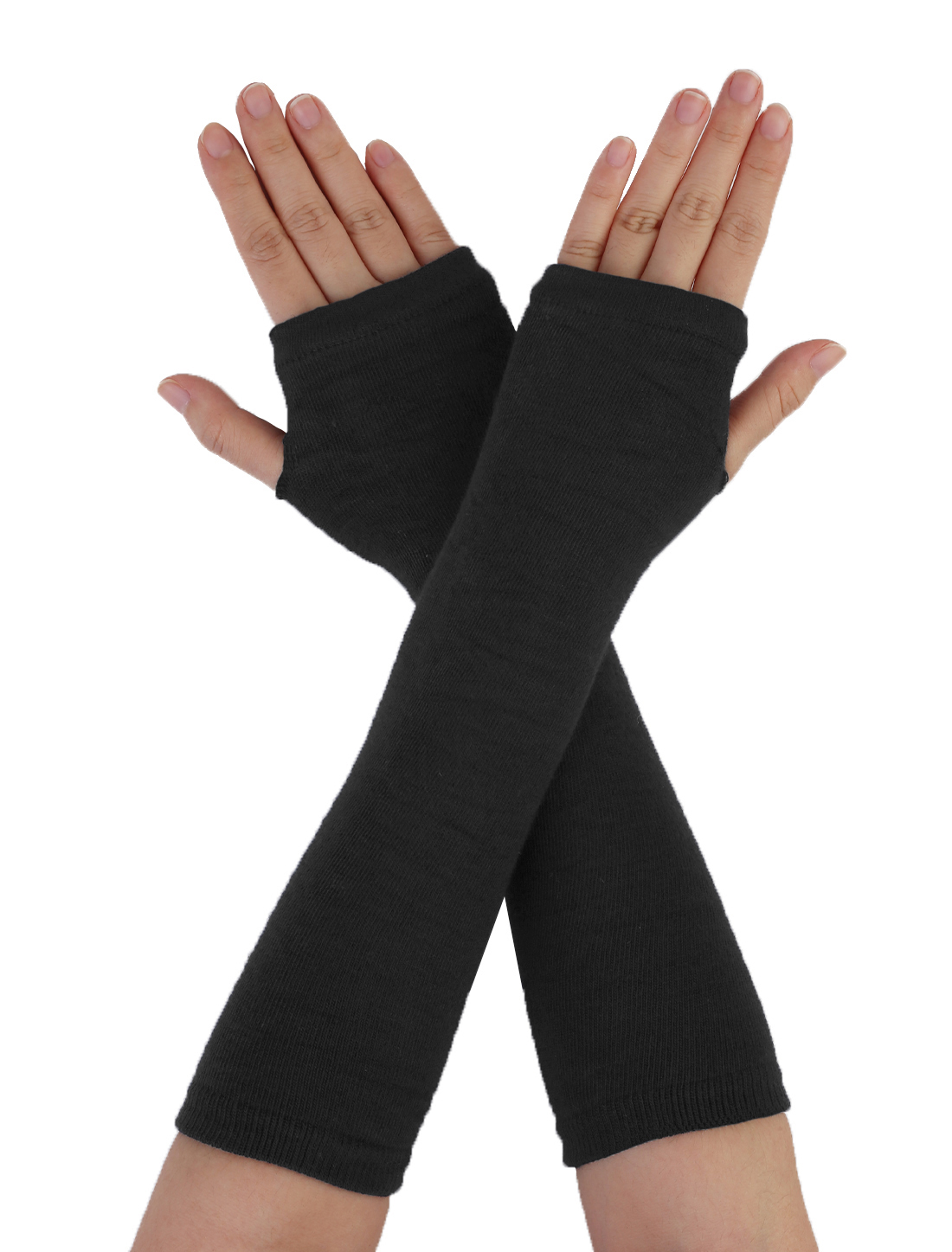 Ladies Woman Black Stretchy Arm Warm Hand Knit Sleeve Fingerless Gloves Pair