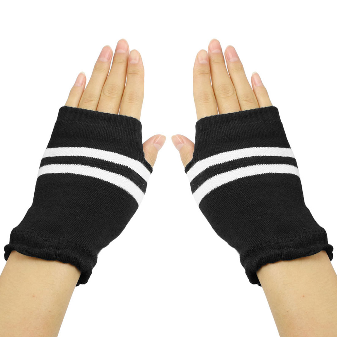 Black White Stripes Pattern Knitted Fingerless Winter Gloves for Ladies