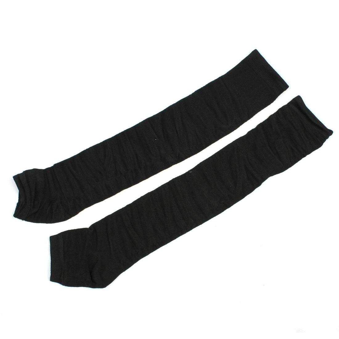 Winter Black Elastic Knitting Wrinkled Leg Warmer Pair for Lady Woman