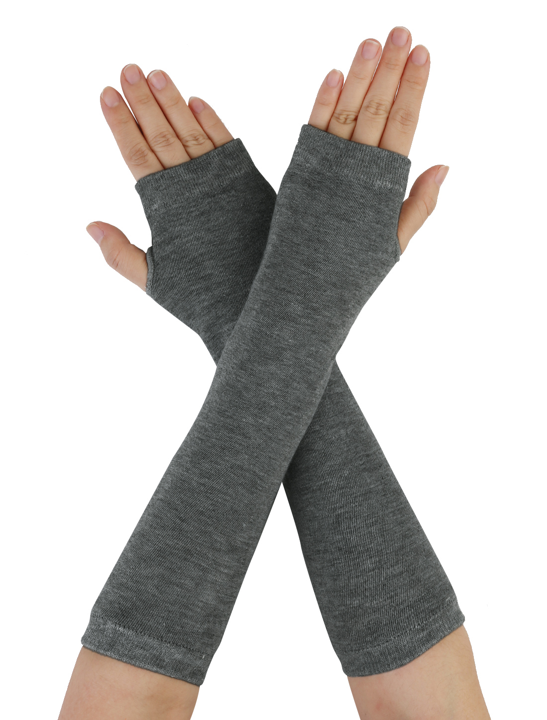 Women Dark Gray Arm Warm Hand Knit Sleeve Fingerless Gloves