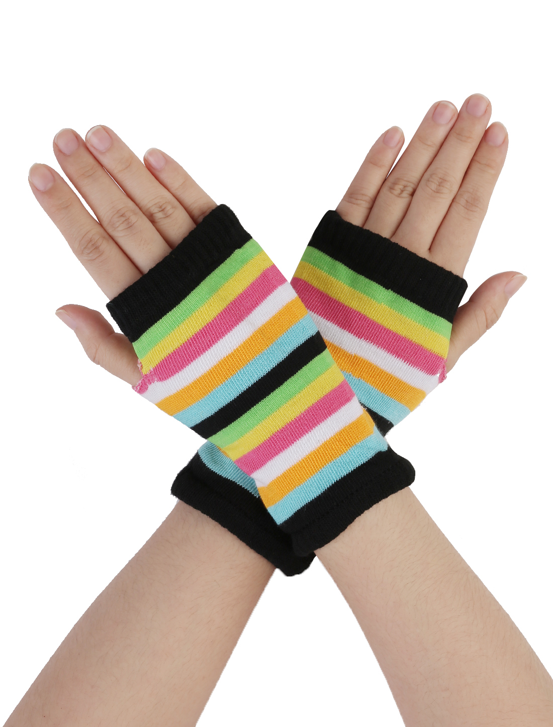 Ladies Colorful Stripes Pattern Fingerless Hand Knit Elastic Gloves Pair