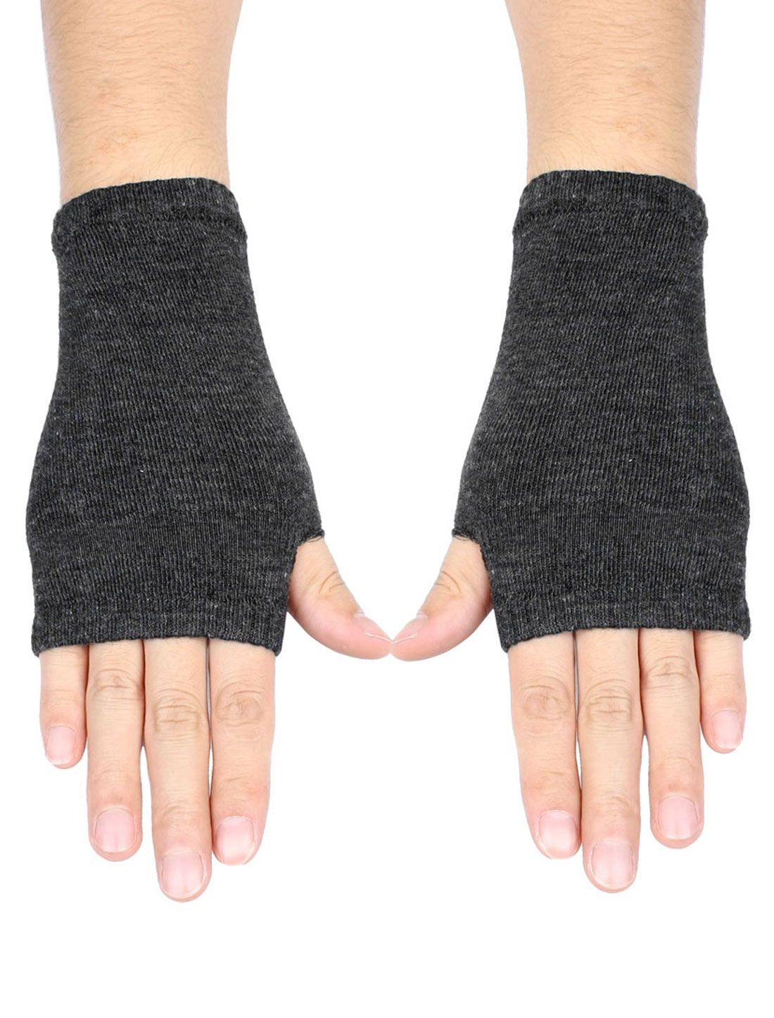 Women Dark Gray Fingerless Elastic Mitten Knitted Gloves Pair
