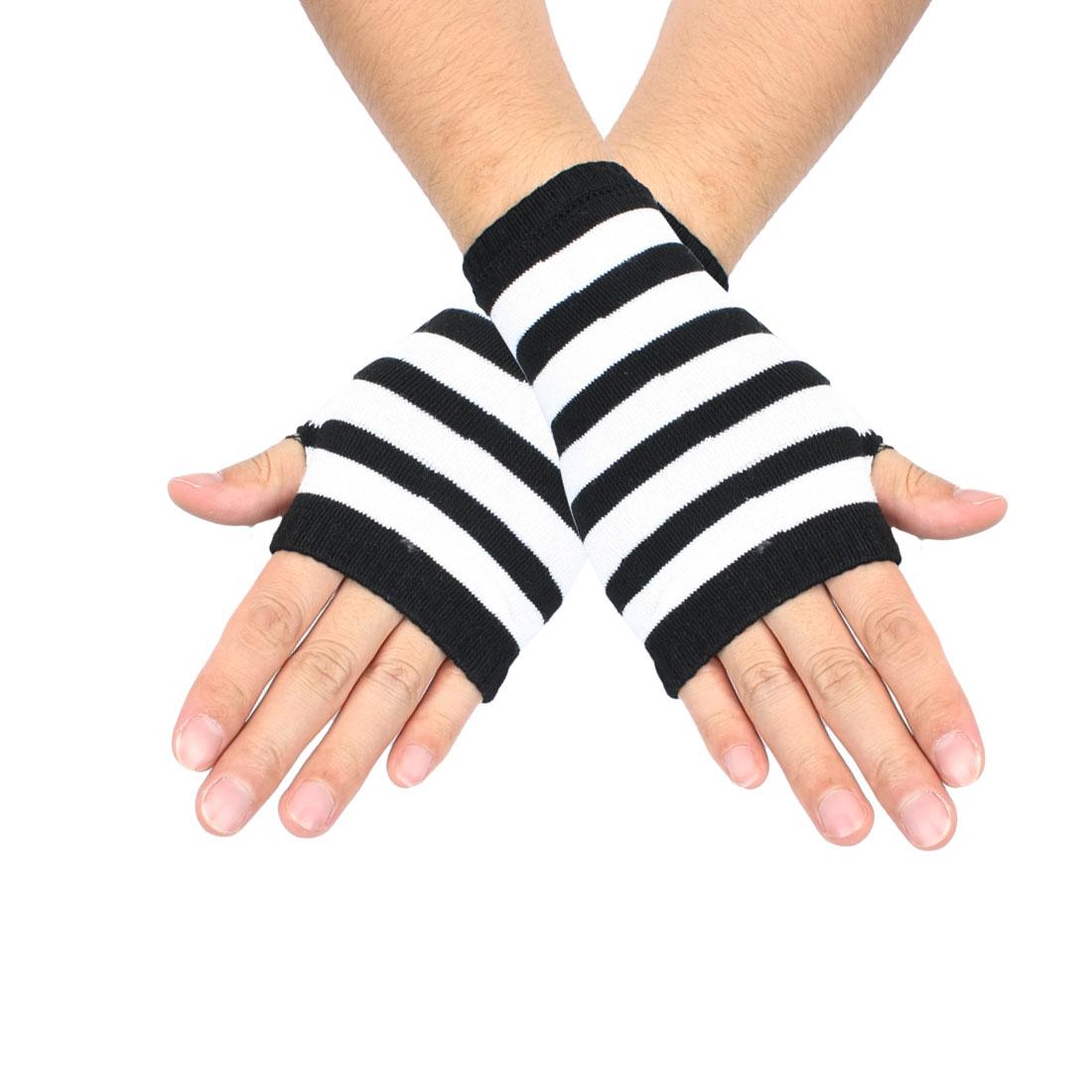 Women Black White Stripe Pattern Fingerless Mitten Knit Elastic Gloves Pair