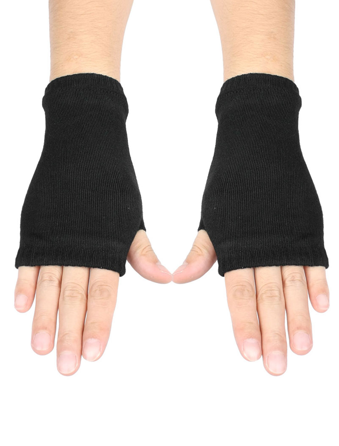 Women Solid Black Acrylic Fingerless Elastic Mitten Knitted Gloves Pair