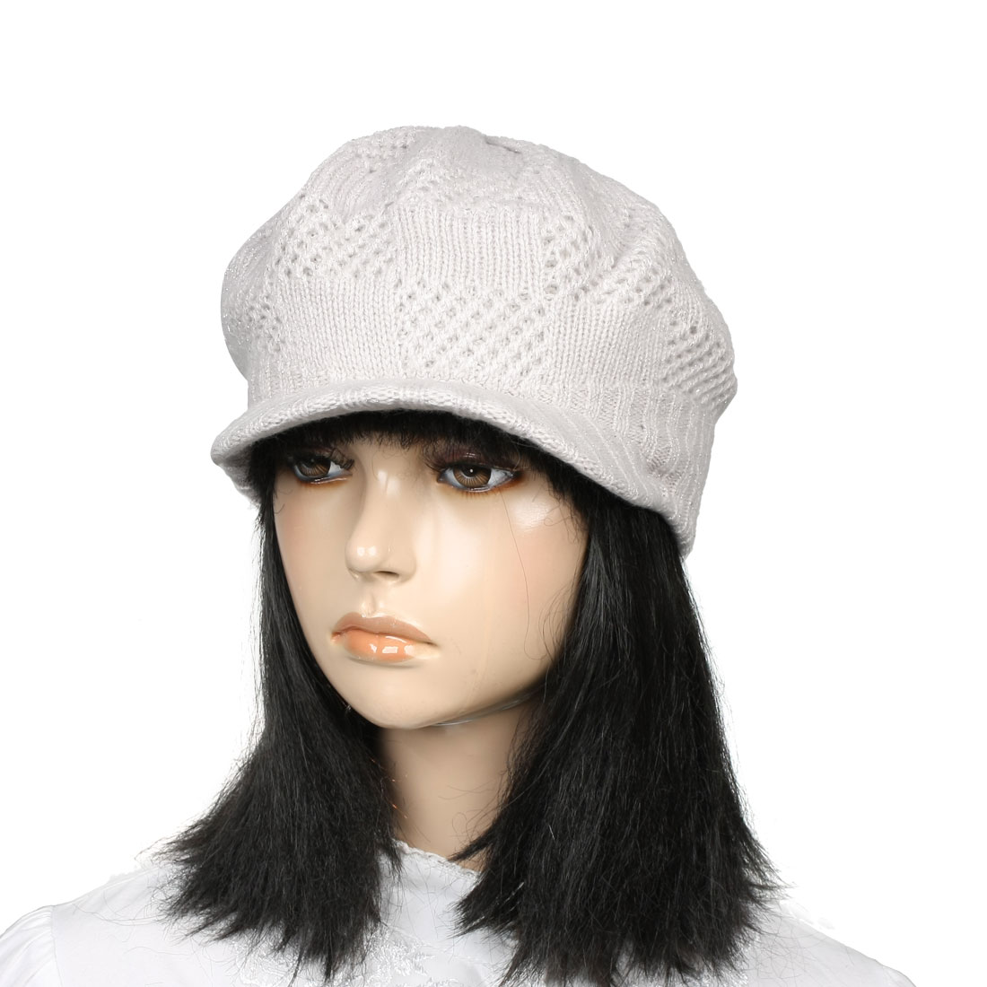 Ladies Ribbed Visor Hand Knit Baggy Beret Hat Cap Warmer Light Gray White