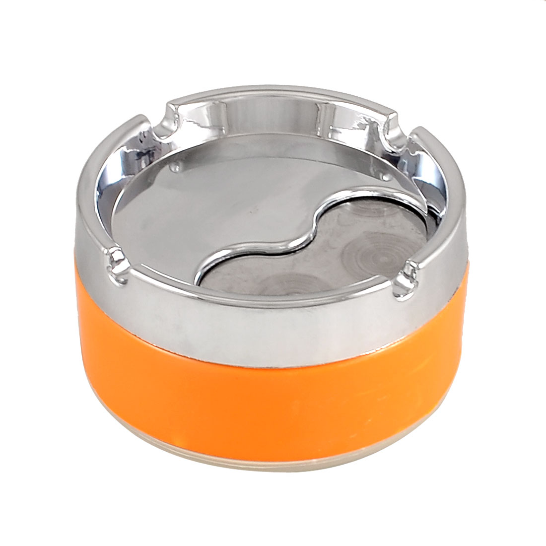 Orange Silver Tone Alloy Three Grooves Rotatable Cover Cigarette Ashtray