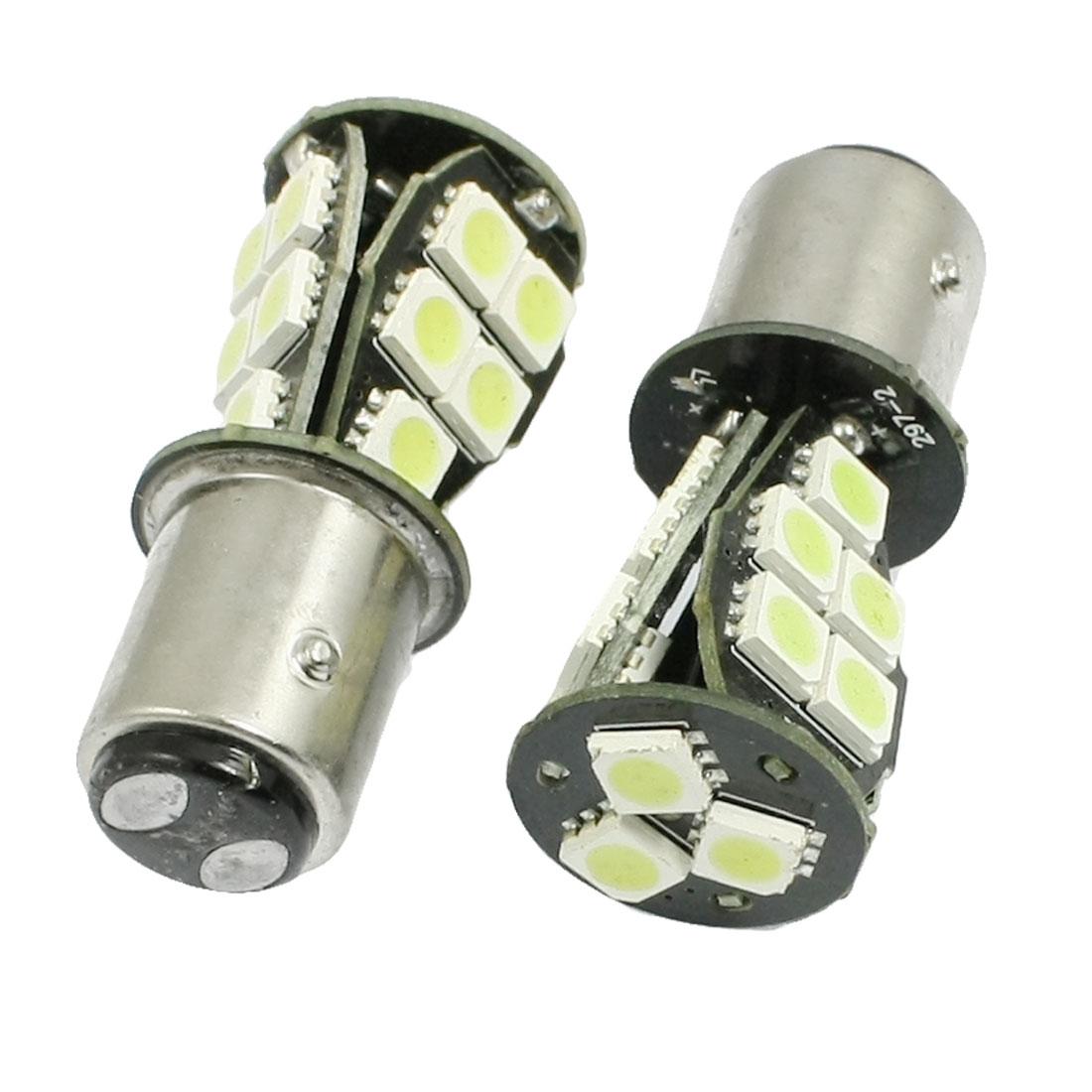 2 Pcs BAY15D 1157 5050 SMD 18 LED White Light Brake Lamp Bulbs