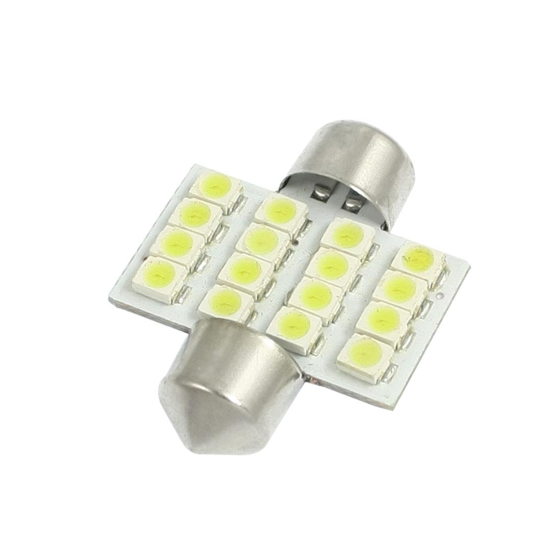 Car Auto 31mm White 16 1210 SMD Festoon LED Light Signal Bulb internal