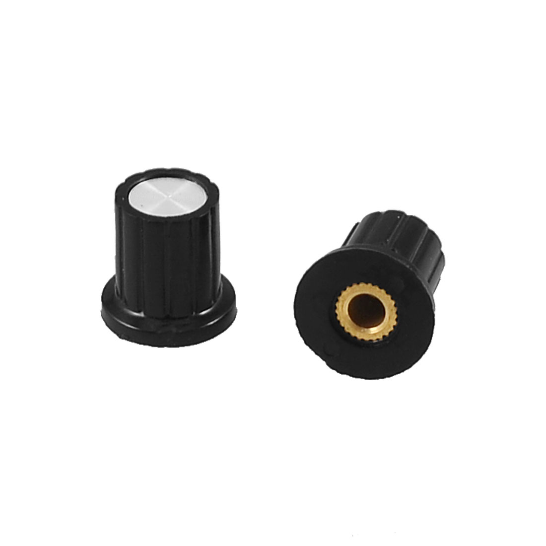 2 Pcs Plastic Potentiometer Control Knob Grip Cap Black 4mm