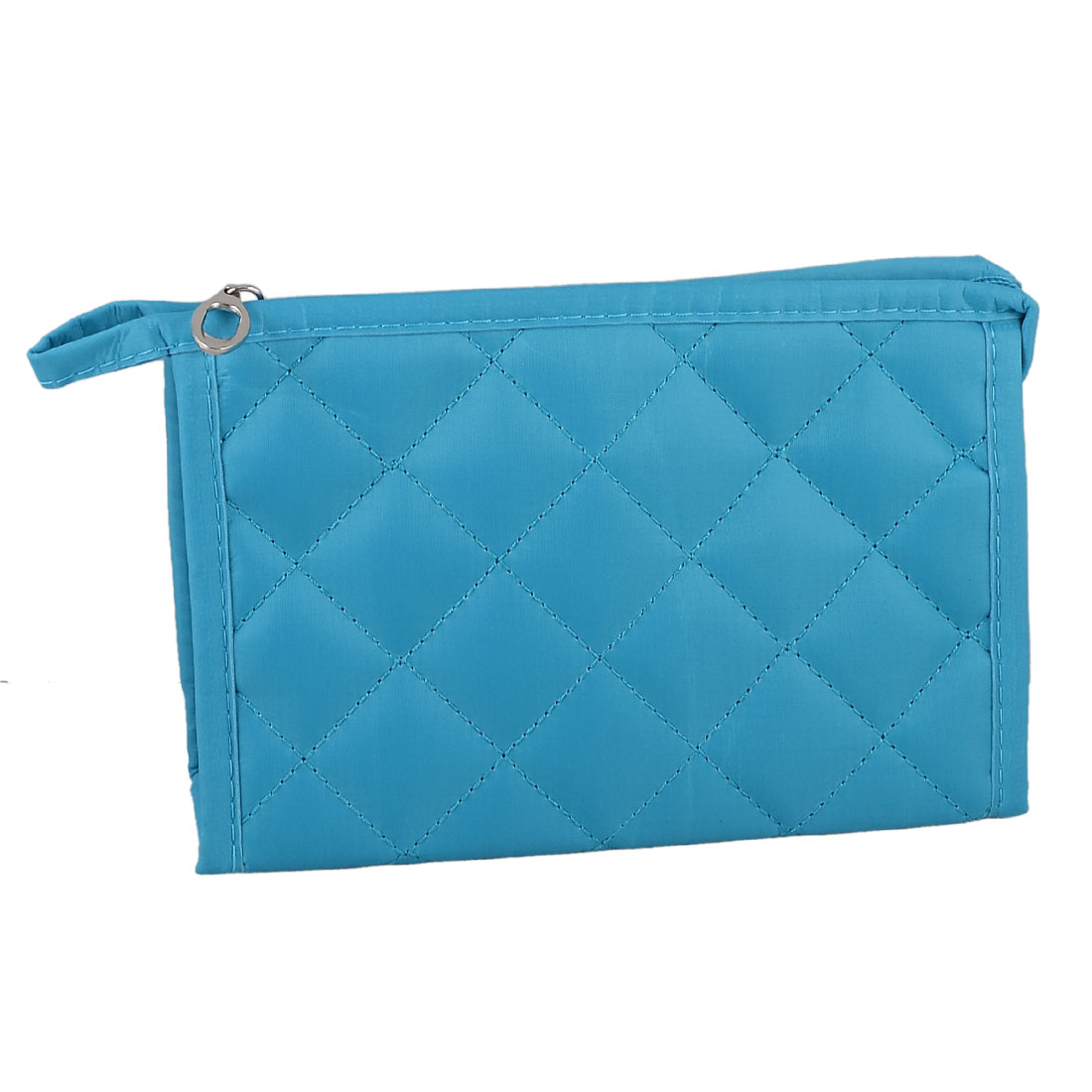 Cosmetic Makeup Zipper Closure Case Bag Rectangle Pouch Cyan Blue for Ladies