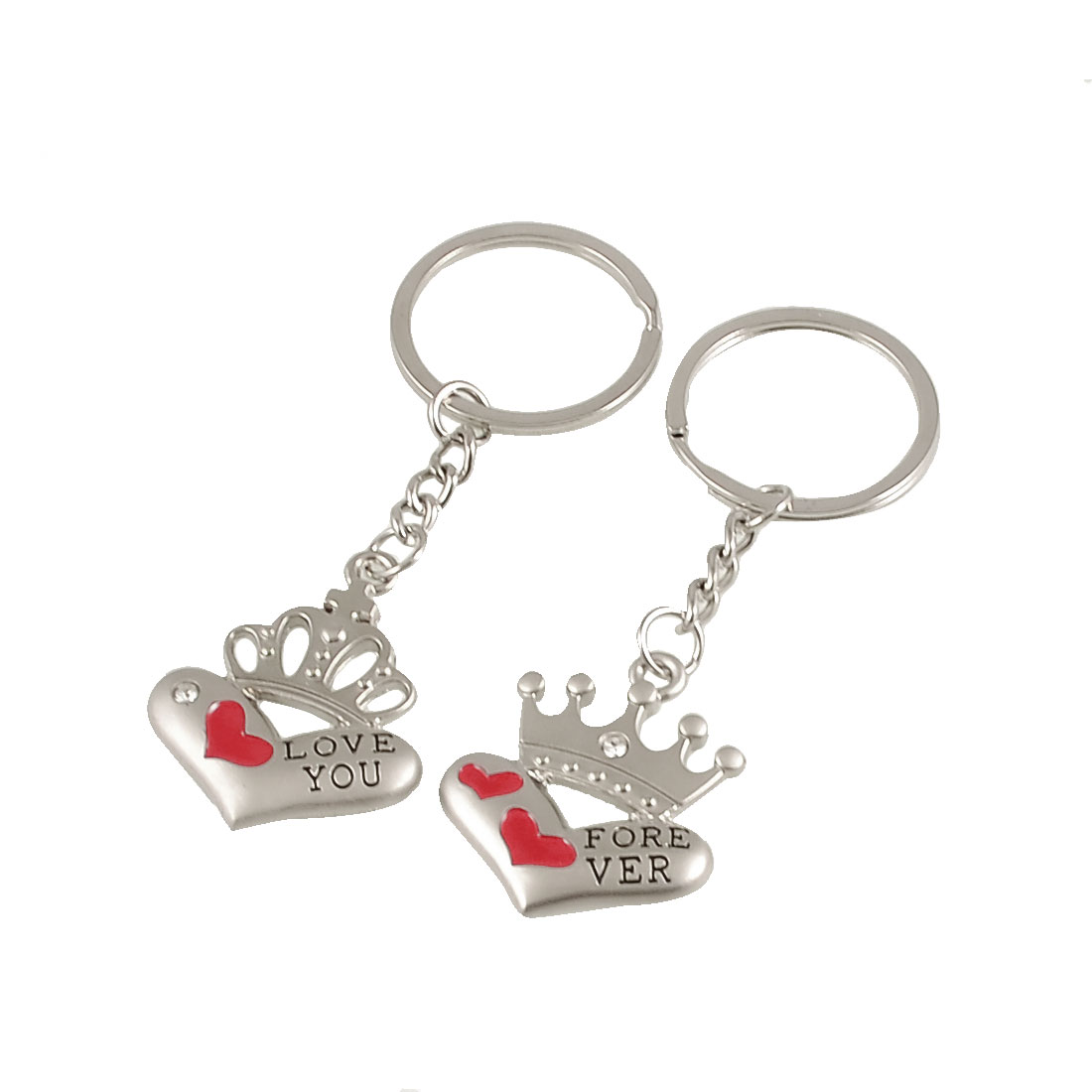 Silver Tone Heart Crown Shape Pendant Flat Split Key Rings 2 Pcs for Lovers
