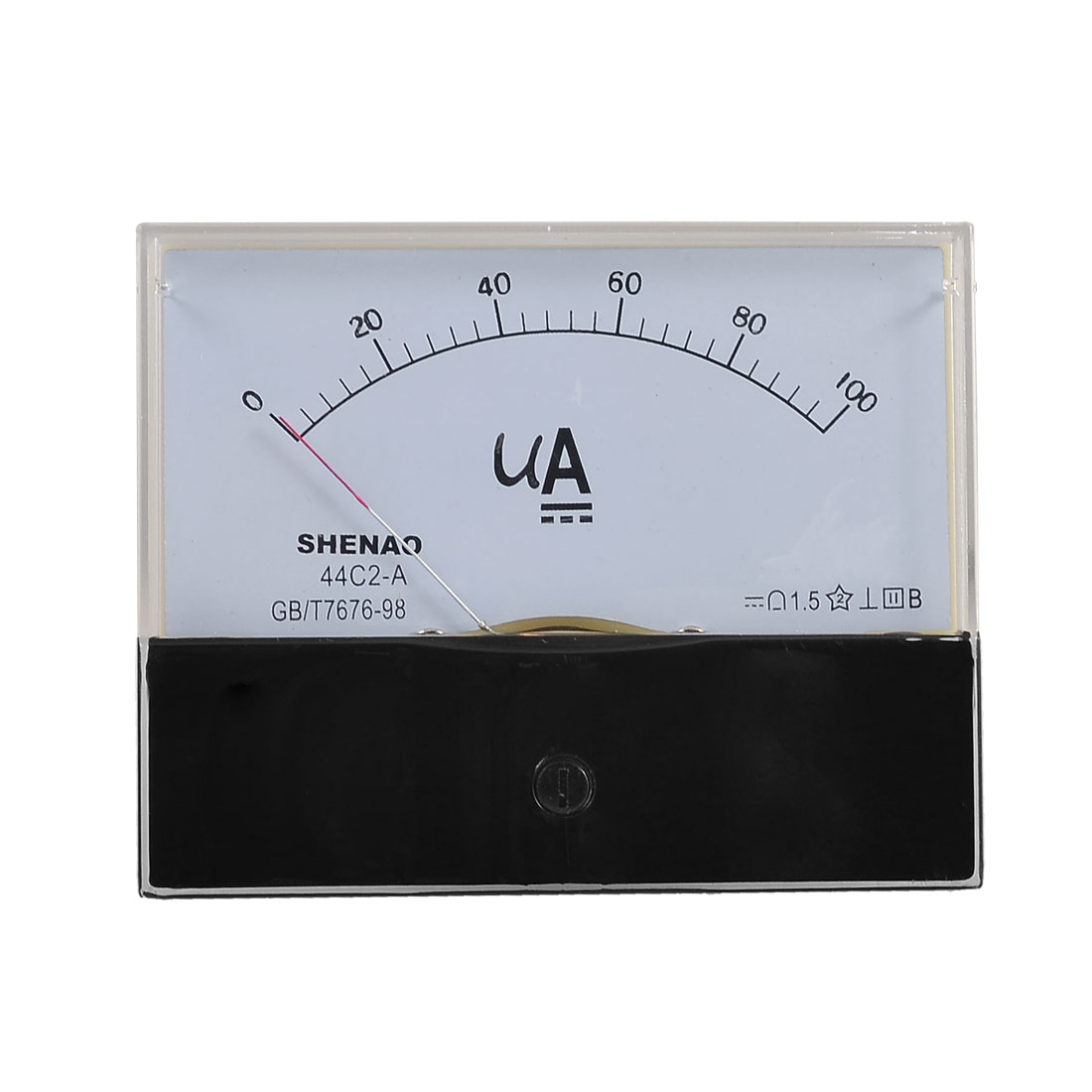 Class 1.5 Accuracy DC 0-100uA Panel Meter Amperemeter Black Clear