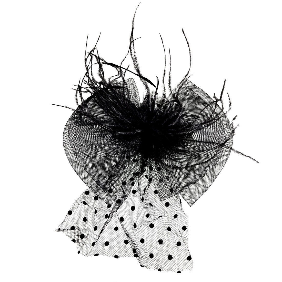 Party Feather Detail Dotted Black Bowknot Corsage Hair Clip
