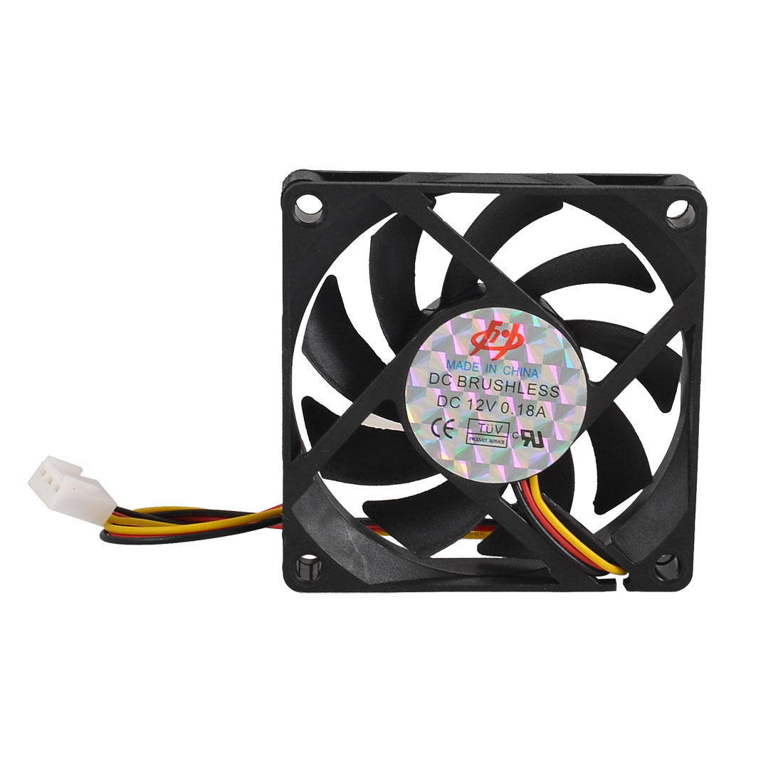 Black Computer CPU 3 Pole Connector Heatsink Square Cooler Fan