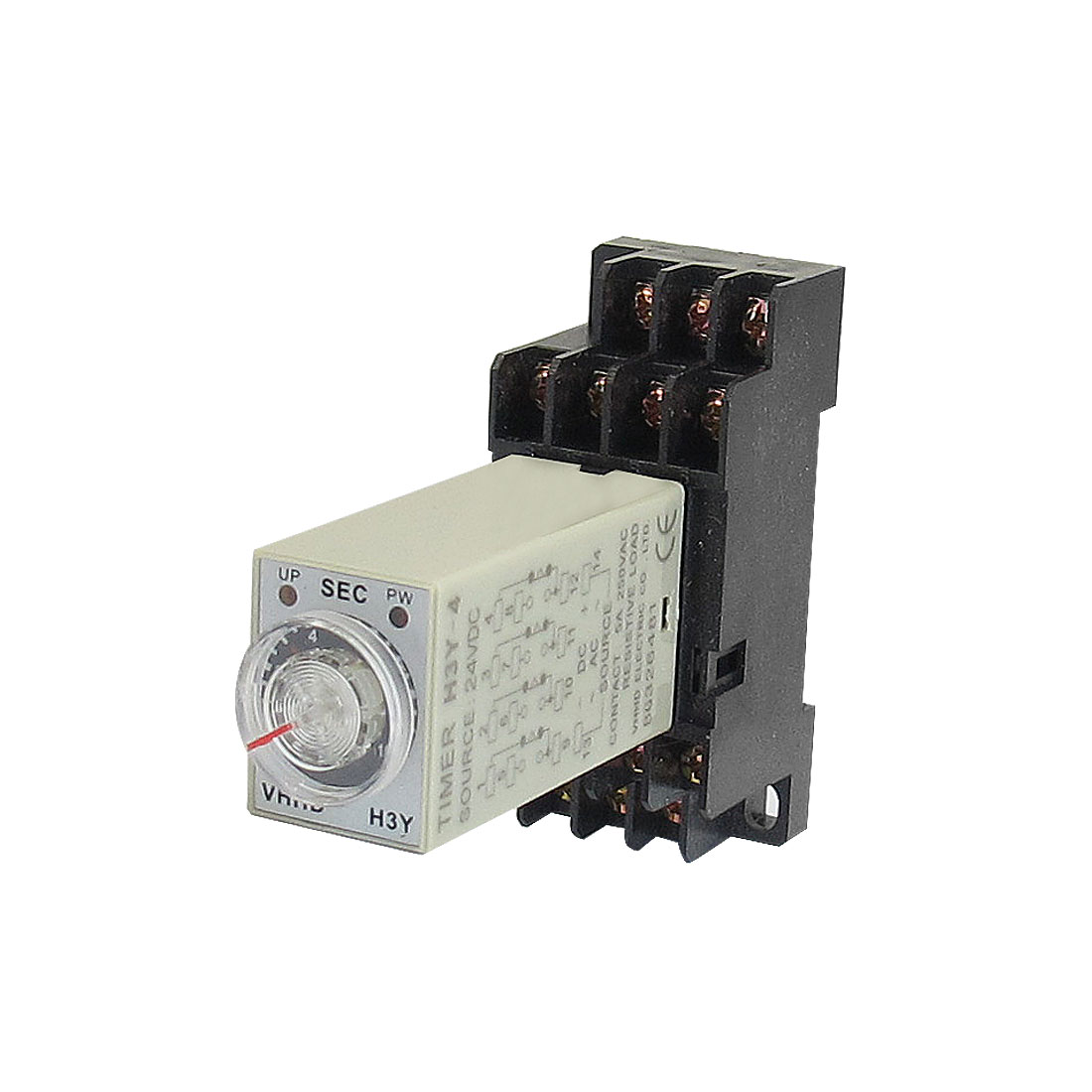 DC 24V 14 Pins 4PDT 0-10S Timer Delay DIN Rail Time Relay H3Y-4 w Socket