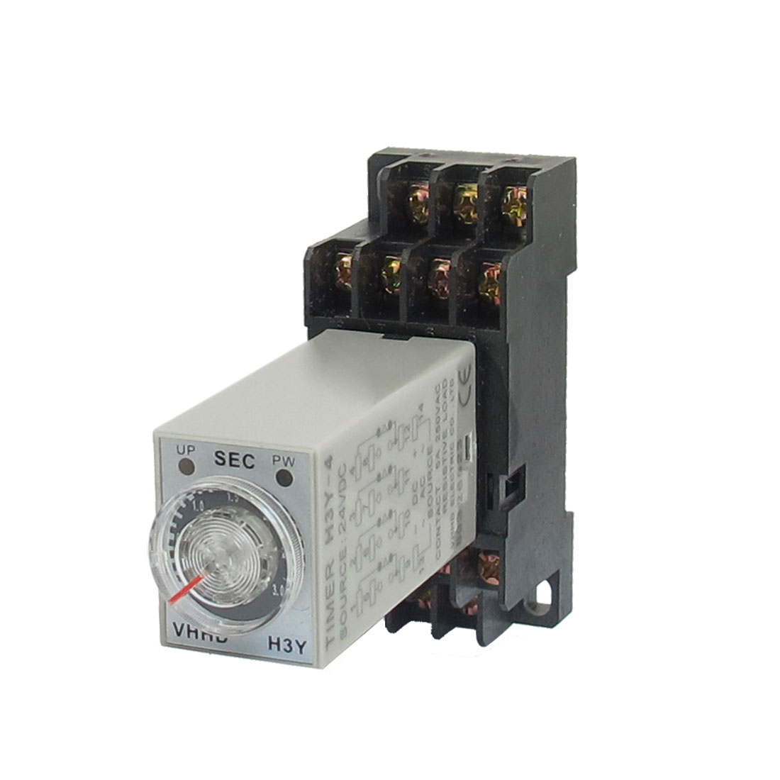 H3Y-4 24VDC 4PDT 3 Seconds Timer Delay 3.5mm DIN Rail Time Relay w Base