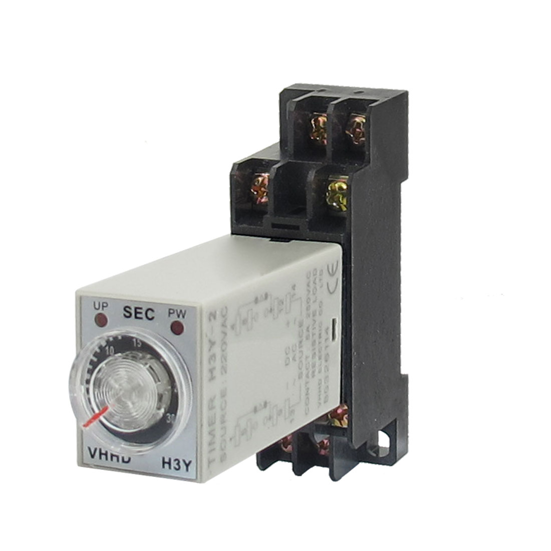 AC 220V H3Y-2 0-30S DPDT 8 Pins Power on Time Delay Relay w Socket