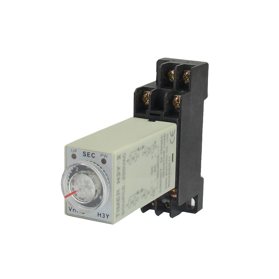 AC 220V 8 Pins DPDT 0-6S Timer Delay DIN Rail Time Relay H3Y-2 w Socket