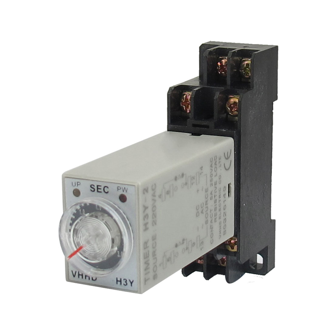 AC 220V H3Y-2 0-3S DPDT 8 Pins Power on Time Delay Relay w Base