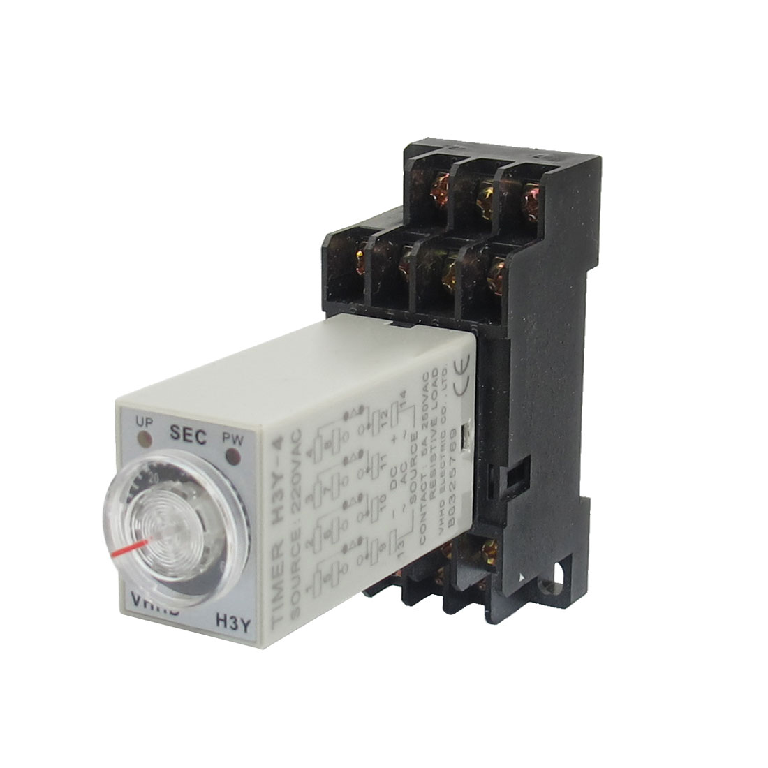 AC 220V H3Y-4 0-60S 4PDT 14 Pins Power on Time Delay Relay w Socket