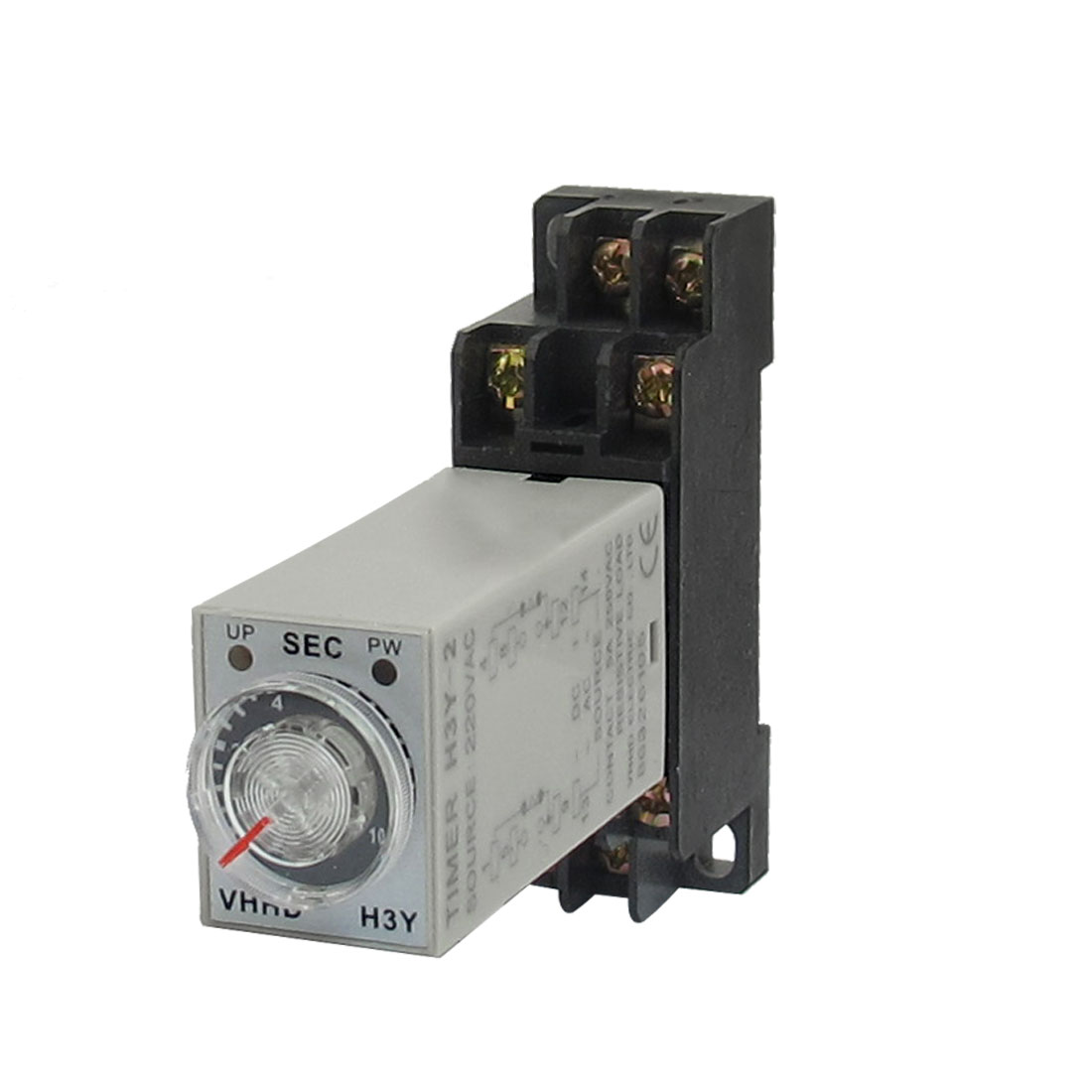 AC 220V 8 Pins DPDT 0-10Seconds Timer Delay Time Relay H3Y-2 w Base Socket