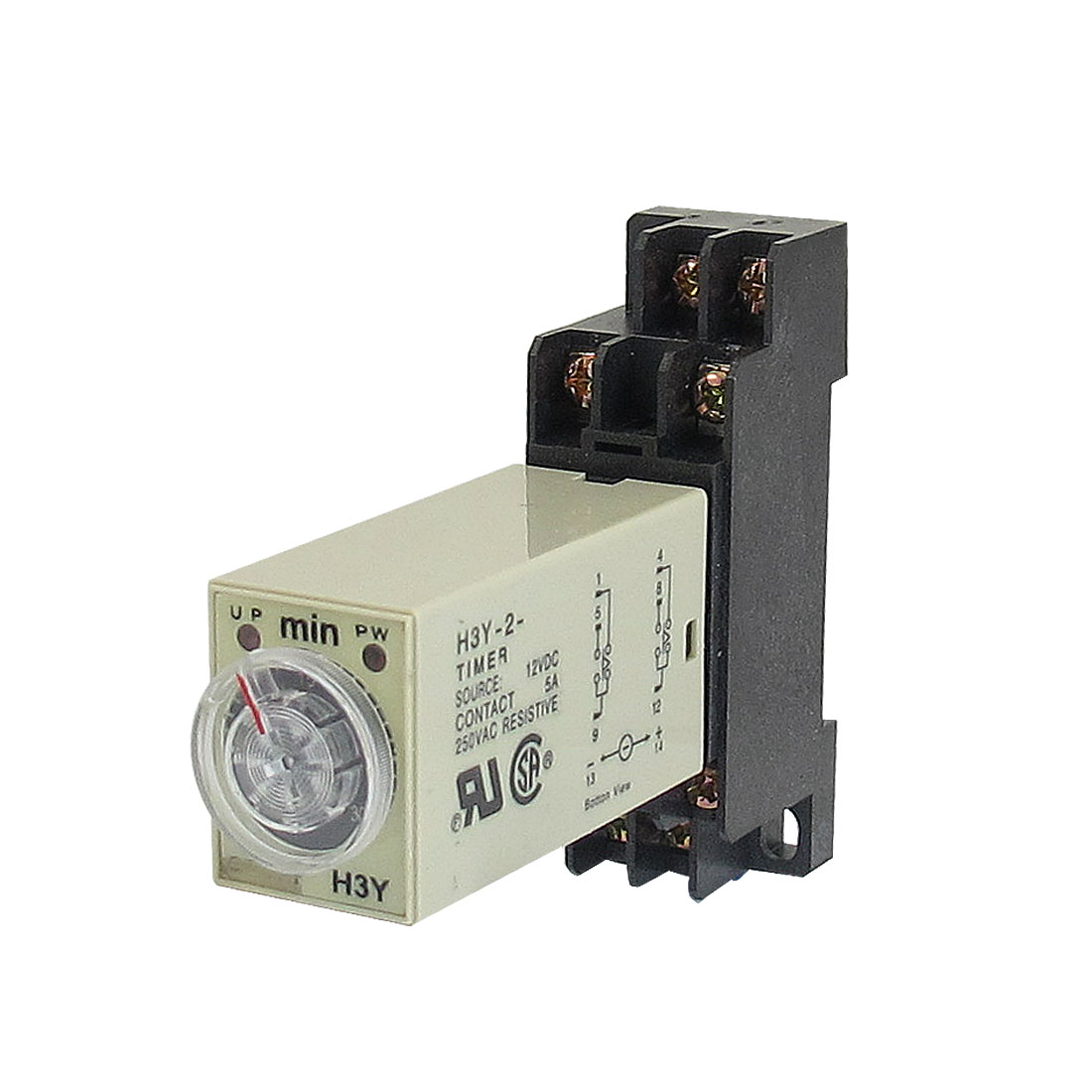 DC 12V H3Y-2 0-30Min DPDT 8 Pins Power on Time Delay Relay w Base