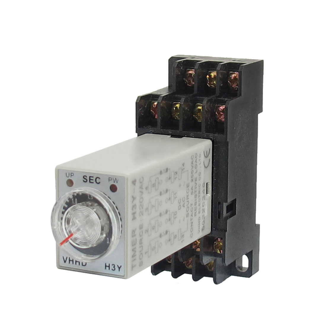 AC 220V H3Y-4 3 Seconds 4PDT 14 Pins Power on Time Delay Relay w Socket