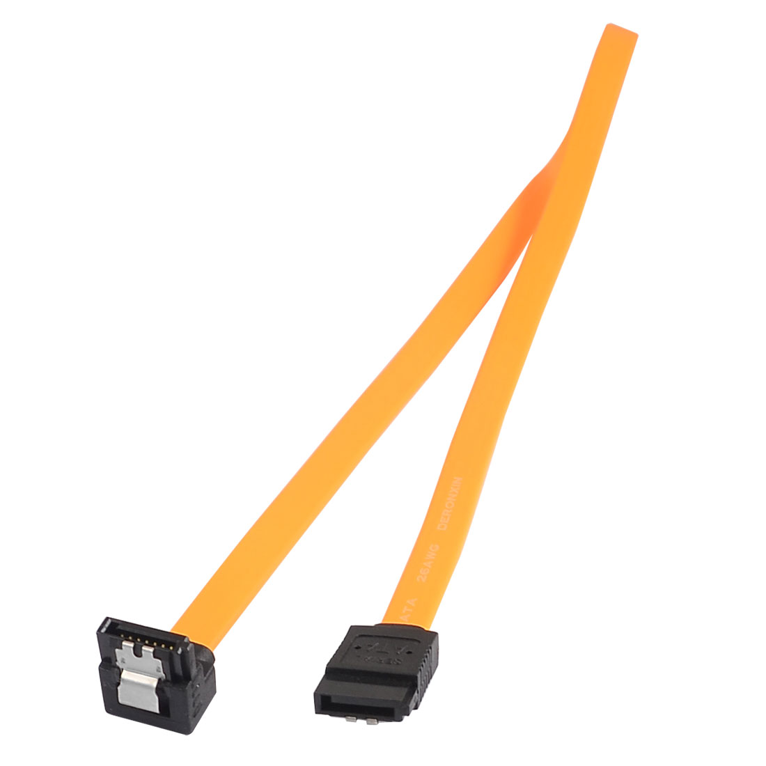 Orange Right Angle SATA Female to Female PC Signal HD Hard Drive Cable 19.7""