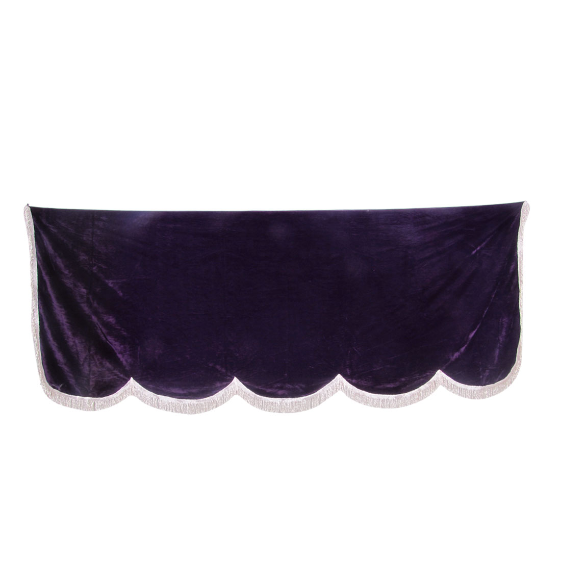 "Tassel Decor Scalloped Edge Purple Pleuche Piano Half Cover 70.8"" x 28.7"""