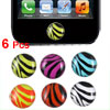 Colorful Zebra Pattern Home Button Stickers 6 Pcs for Cell Phone
