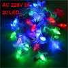 AC 220V 3A Christmas Decorative Flower Shape Red Green LED Lights Hanging Vine Purple 3.9 Meters