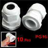 White Plastic Waterproof PG16 Cable Gland for 10-14mm Wire