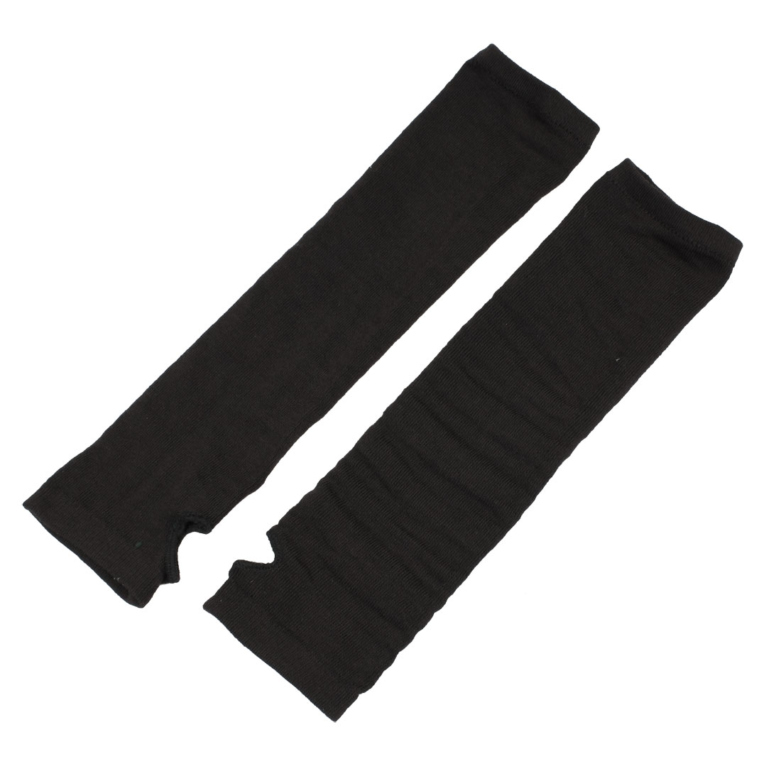 Pair Black Elastic Knitted Fingerless Thumbhole Elbow Warm Gloves for Lady