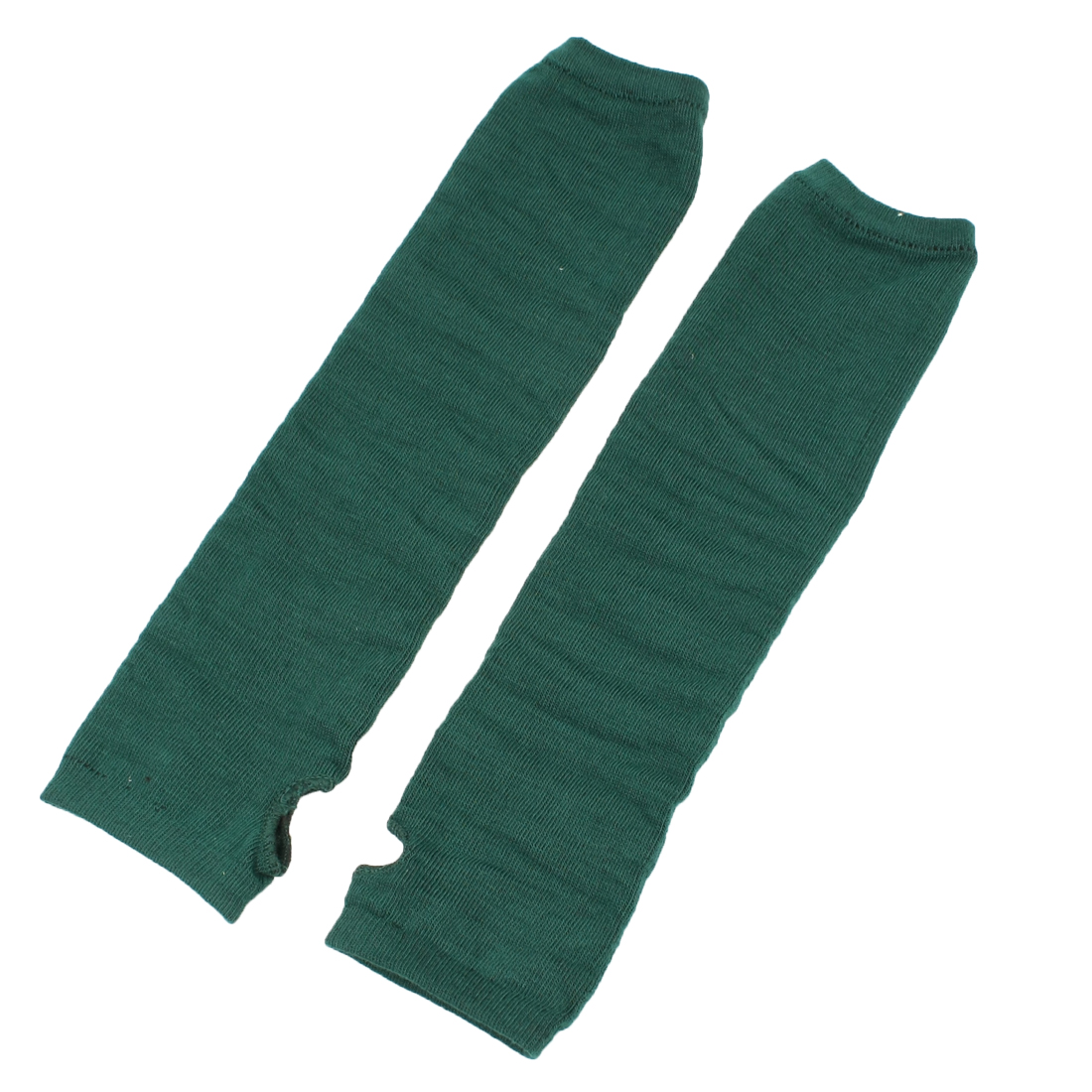 Pair Dark Green Elastic Knitted Fingerless Thumbhole Elbow Warm Gloves for Lady