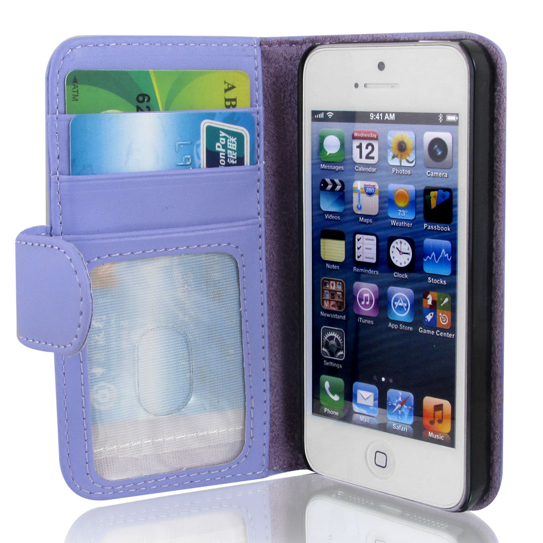 Light Purple Faux Leather Magnetic Flip Case Cover Pouch for Apple iPhone 5 5G