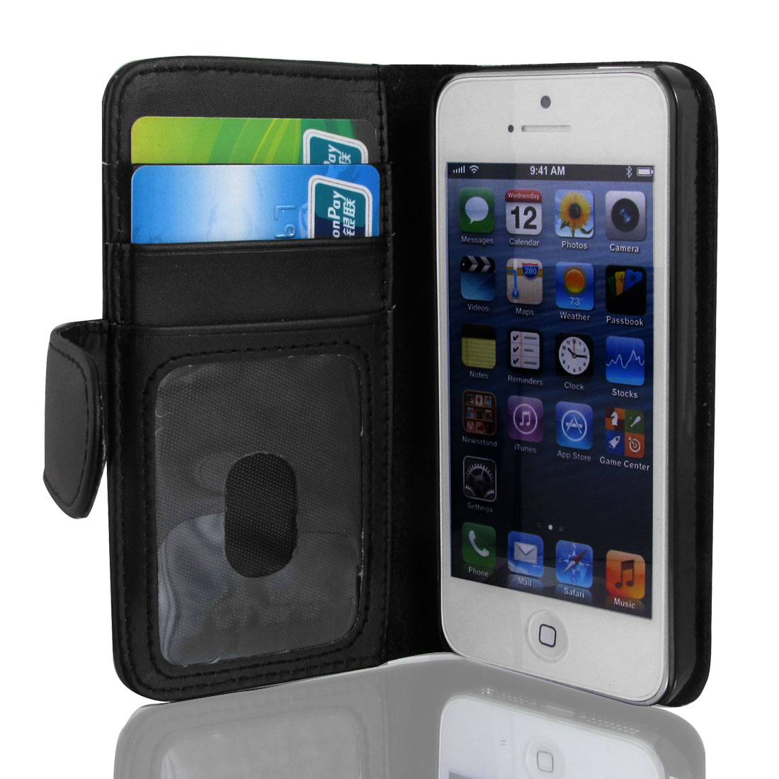 Black Faux Leather Magnetic Flip Case Cover Pouch Holder for Apple iPhone 5 5G